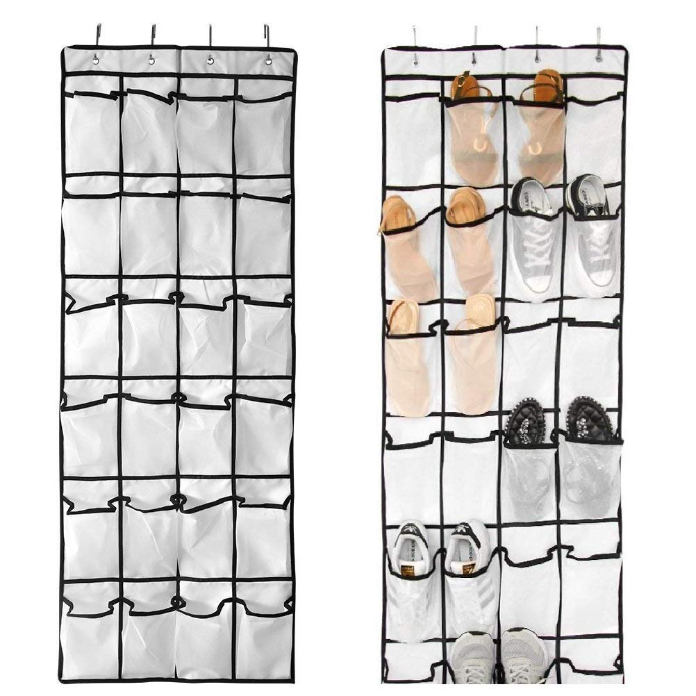 HAOUDOU Over The Door Hanging Shoe Organizer 24 Large Mesh Fabric Pockets (58''x 21.6'') White HAODOU