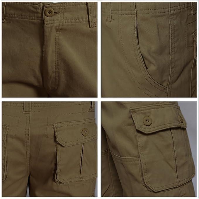 TAIPOVE Pantalones Cargo Corto Pantalón Casual Pantalón Laboral para Hombre con 6 Bosillos Negro Verde Amarillo Caqi Café 2WKY1