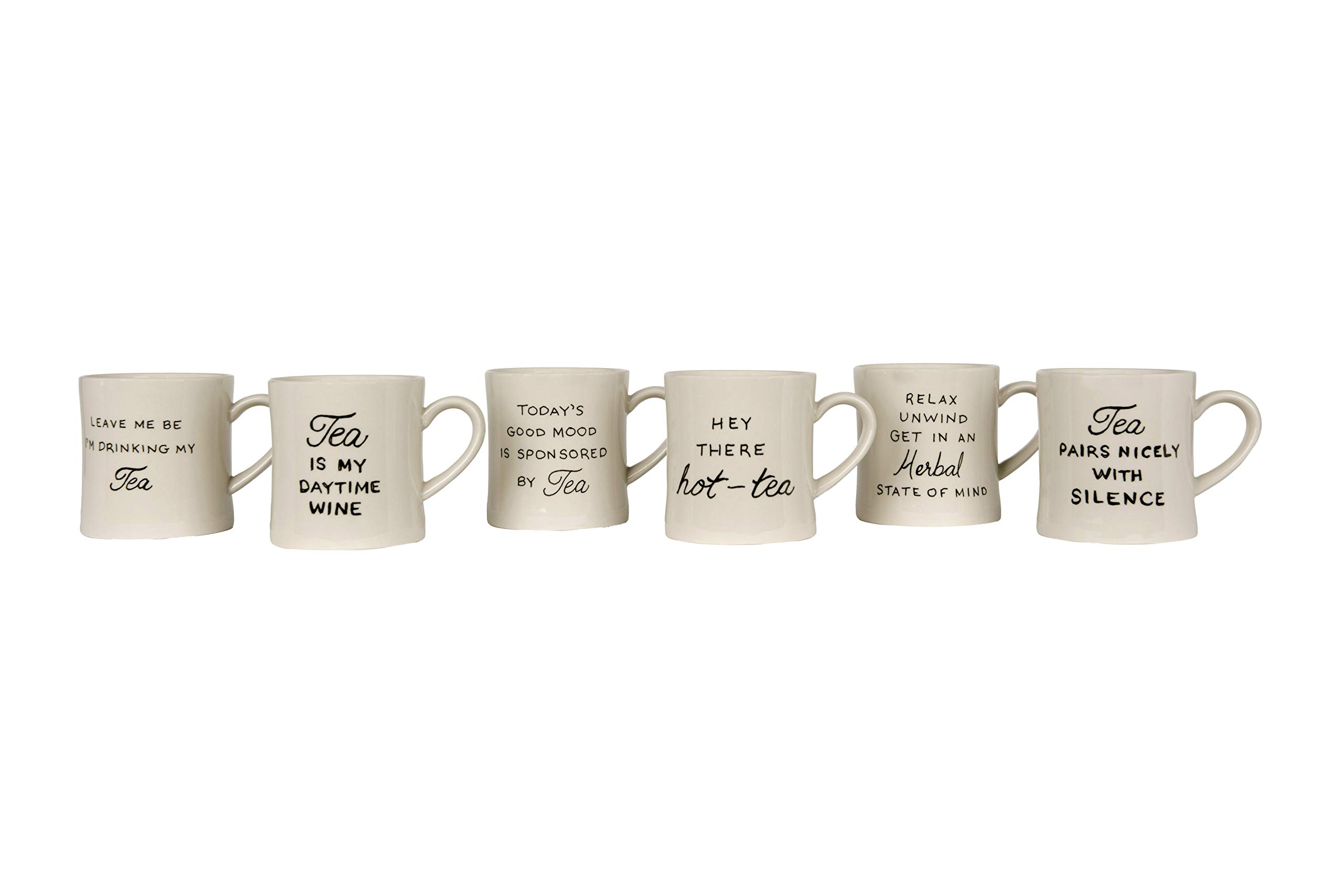 Creative Co-op Today's Good Mood is Sponsored by Tea White Stoneware (Set of 6 Sayings) Mug,