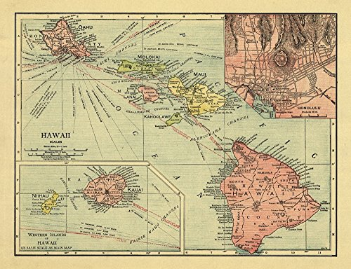 - Hawaiian Islands - (1912) - Panoramic Map (16x24 Fine Art Giclee Gallery Print, Home Wall Decor Artwork Poster)