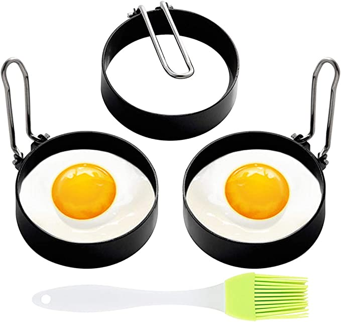 McMuffin Sandwich Egg Rings Mold for Cooking 4 Pack Stainless Steel Round Egg Cooker Ring Nonstick Fried Egg Maker Molds Shaper Breakfast Household Kitchen Eggs Tool for perfect pancake