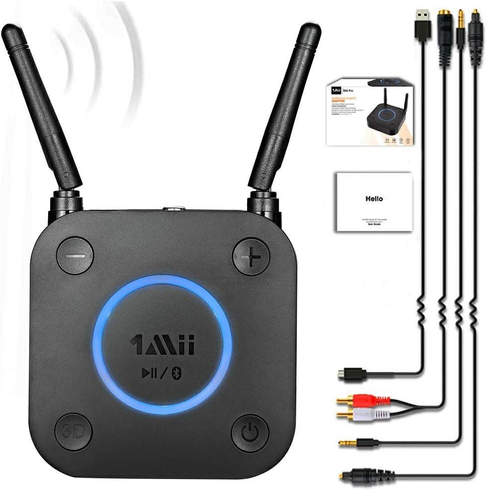 1Mii Receptor Bluetooth 5.0, Adaptador de Audio con Control Volumen HiFi, Bluetooth Receptor de Audio aptX LL de Baja Latencia Óptico RCA AUX 3.5mm Coaxial para Altavoces, Estereo Hogar, Largo Alcance