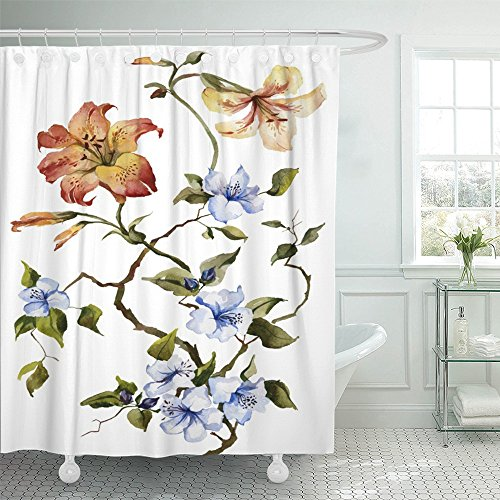 Emvency Shower Curtain With Hook Polyester Fabric Colorful Orange Tiger Lilies and Blue Flowers on the White Watercolor Painting Green Waterproof Adjustable Hook Sets 66 x 72 For Bathroom (Tiger Lily Drapes)