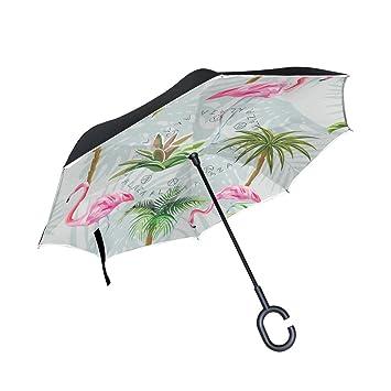 Mnsruu Paraguas invertido de Doble Capa con patrón de Flamenco Plegable con protección UV para Uso