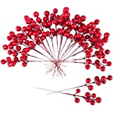 Meiliy 24 PCS Artificial Red Berry Stems Holly Berries Christmas Tree Decor Wreath DIY Craft