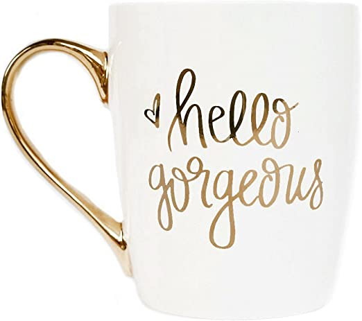 Amazon.com: Taza de café con diseño de Hello Gorgeous Gold ...