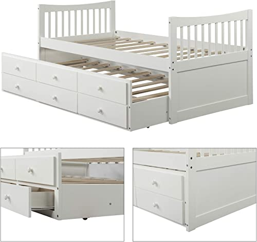 Twin Captain's Bed Storage Daybed with Trundle and Drawers for Kids Teens and Adults, White
