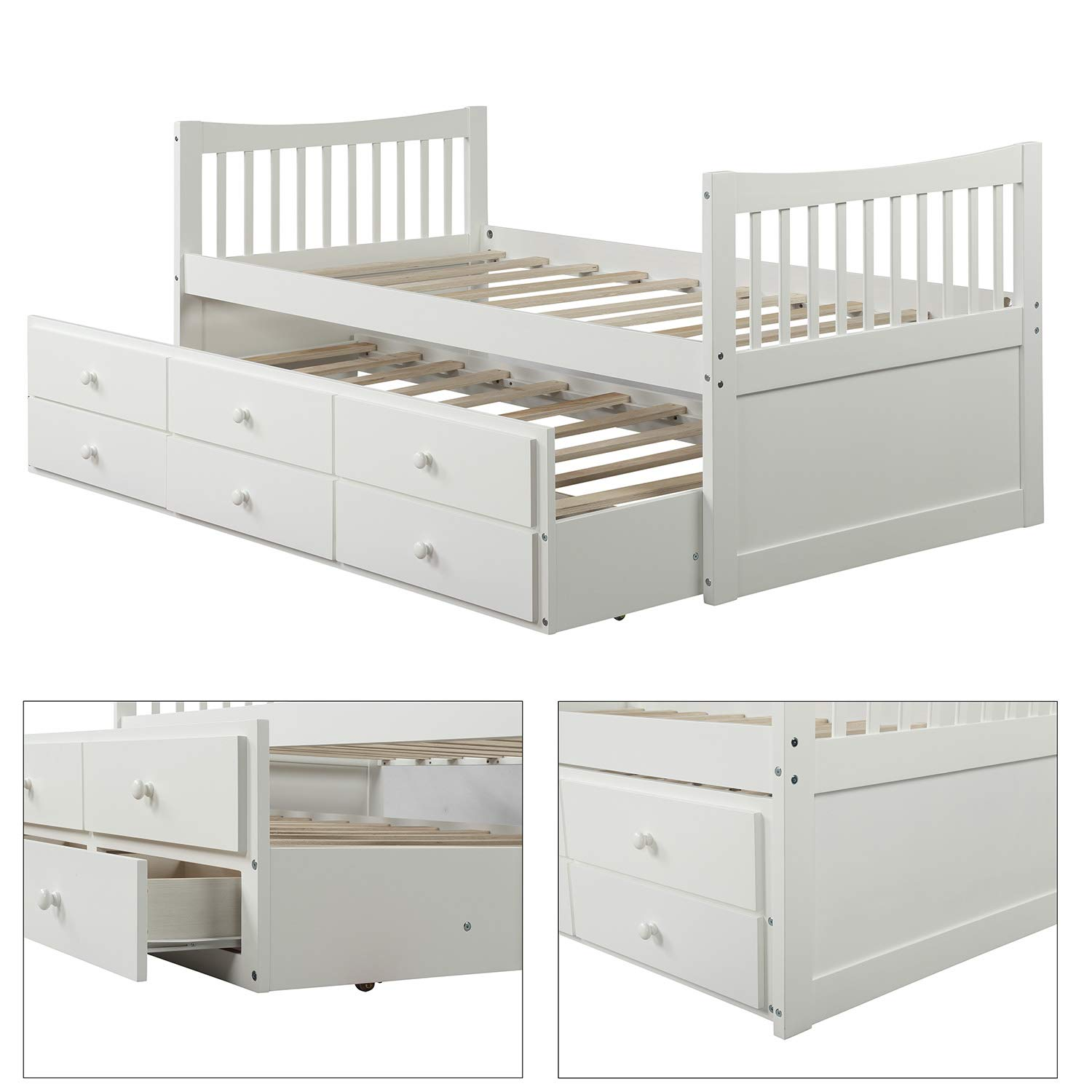 Twin Captain s Bed Storage Daybed with Trundle and Drawers for Kids Teens and Adults, White