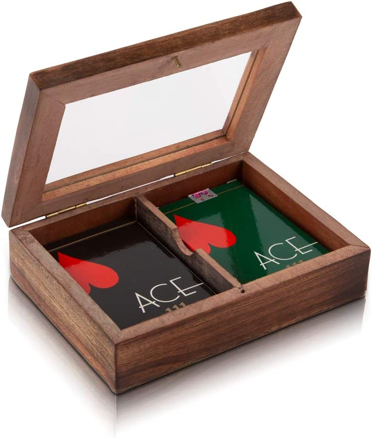 Unique Birthday Gift Ideas Handcrafted Classic Wooden Playing Card Holder Deck Box Storage Case Organizer With 2 Sets of Premium Quality 'Ace' Playing Cards Anniversary Housewarming Gifts Him Her