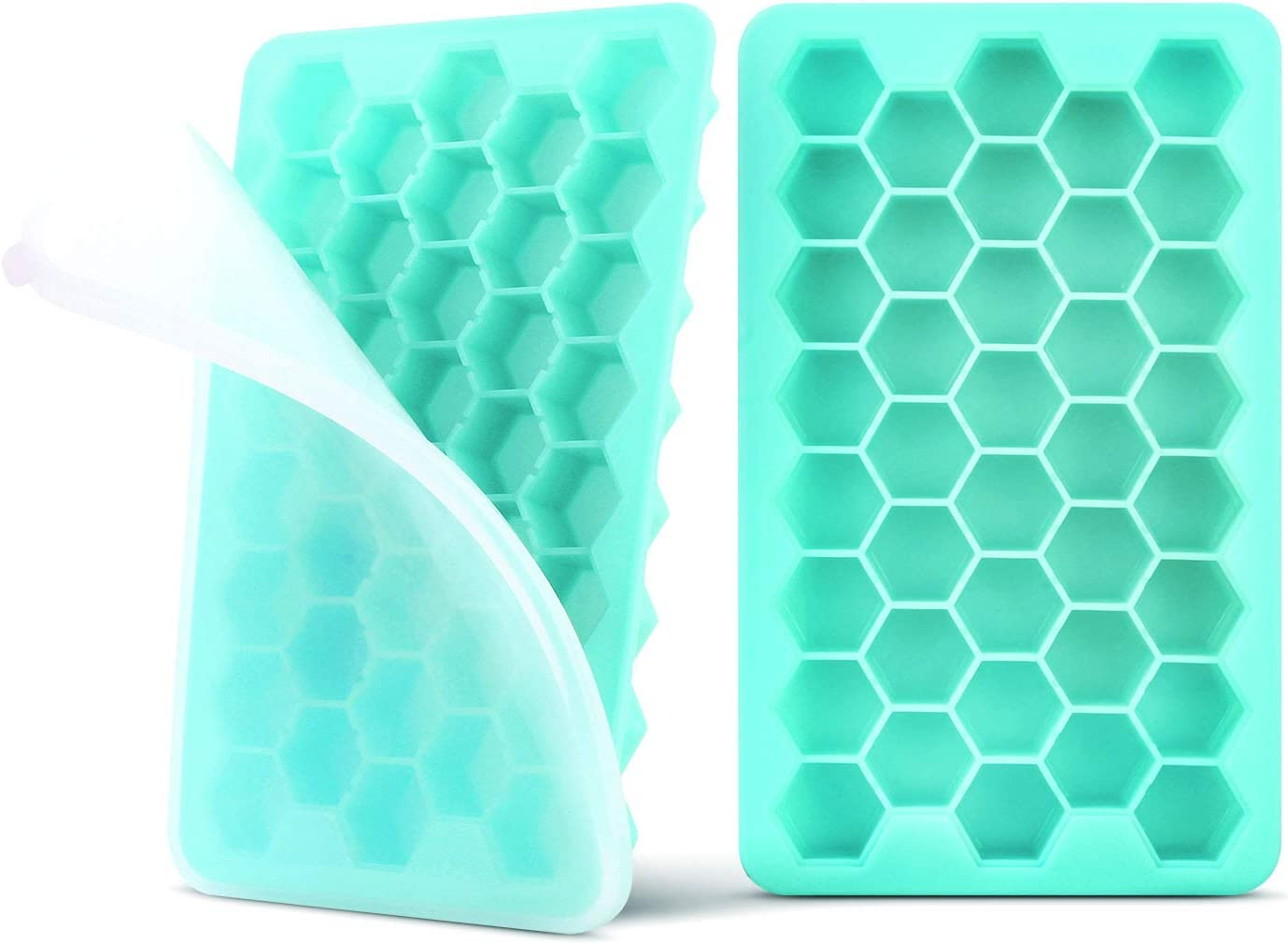 Ice Cube Trays with Lids Easy Release Silicone ZTXPRO BPA FREE 78 Cubes Flexible Ice Cube Molds for Drinks, Beverages, Whiskey, Cocktails and Baby Food Durable Dishwasher Safe (2 Pack) – Cyan Blue