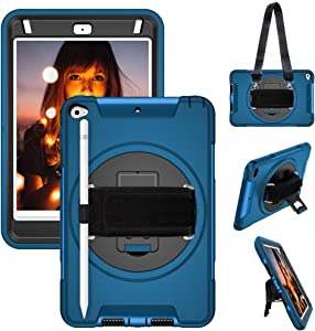 """iPad Mini 5 2019 Case,iPad Mini 4 Case for Kids Protective Case Cover with Pencil Holder,Stand,Handle Grip,Shoulder Strap for iPad Mini 5th/4th Gen 7.9"""",Blue"""