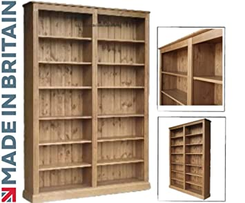 solid pine bookcase 7ft x 5ft handcrafted waxed adjustable library display storage shelving - Pine Bookshelves