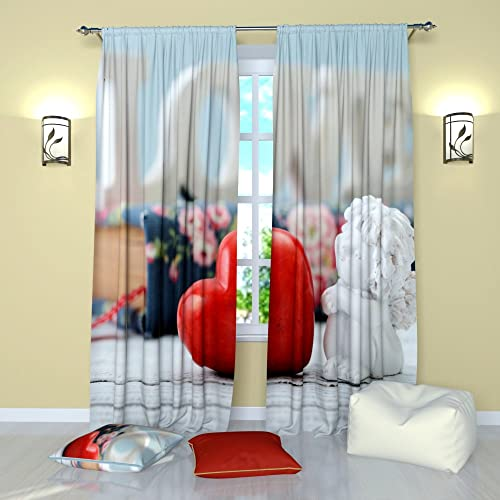 Factory4me Angel Curtains Boy Cupid. Window Curtain Set of 2 Panels Each W52 x L96 Total W104 x L96 inches Drapes for Living Room Bedroom Kitchen