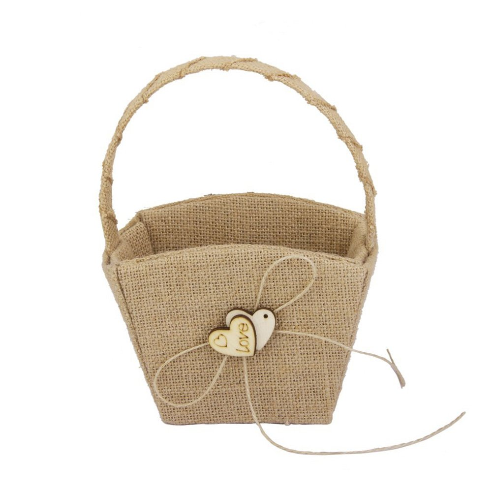Pixnor Vintage Wedding Burlap Hessian Flower Girl Basket Great for Holding Candy, Small Gifts