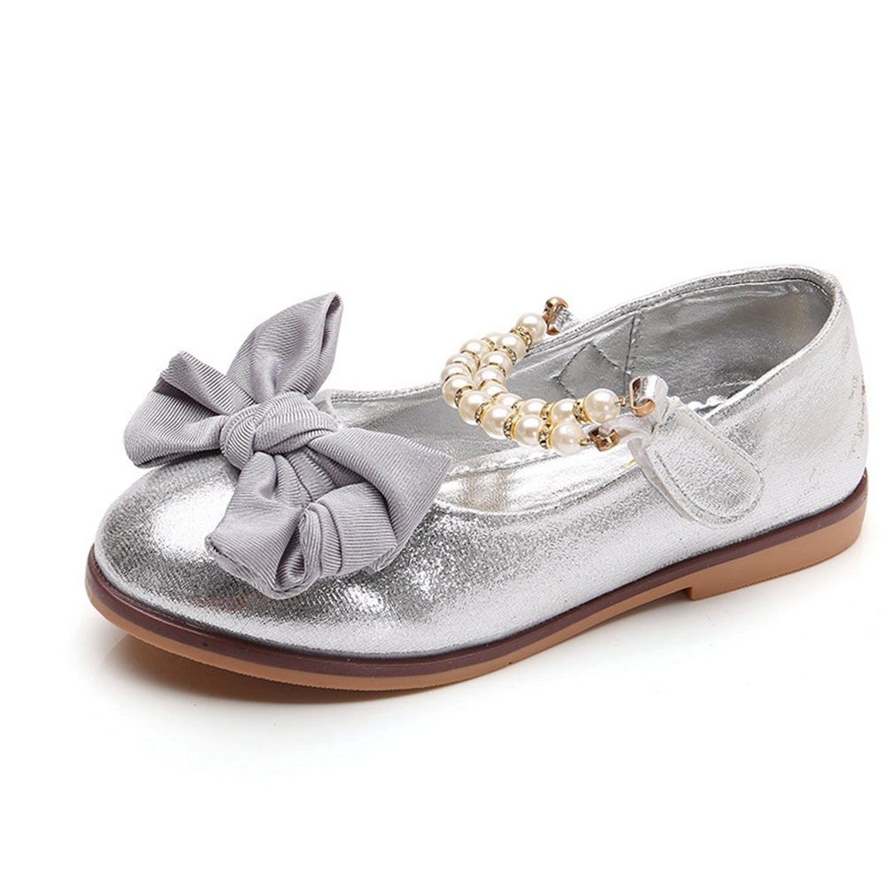 CYBLING Girls Glitter Ballet Flats Wedding Princess Dress Shoes Mary Jane With Pearl Strap (Toddler/Little Kid)