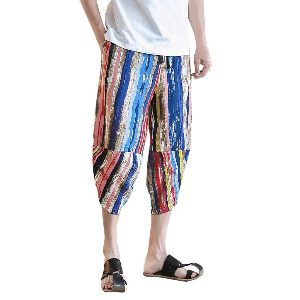 ANJUNIE Elastic Waist Beach Harem Pants,Men's Multi Color Striped Cotton Linen Casual Palazzo Trousers(Multicolor,XXXL) by ANJUNIE