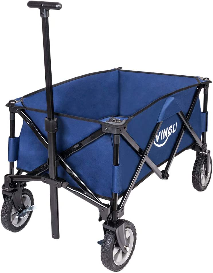 VINGLI Portable Collapsible Utility Wagon,Sturdy Outdoor Folding Garden Sports Shopping Cart, Steel Frame for Beach Park Camping Patio Compact Wheels, Blue