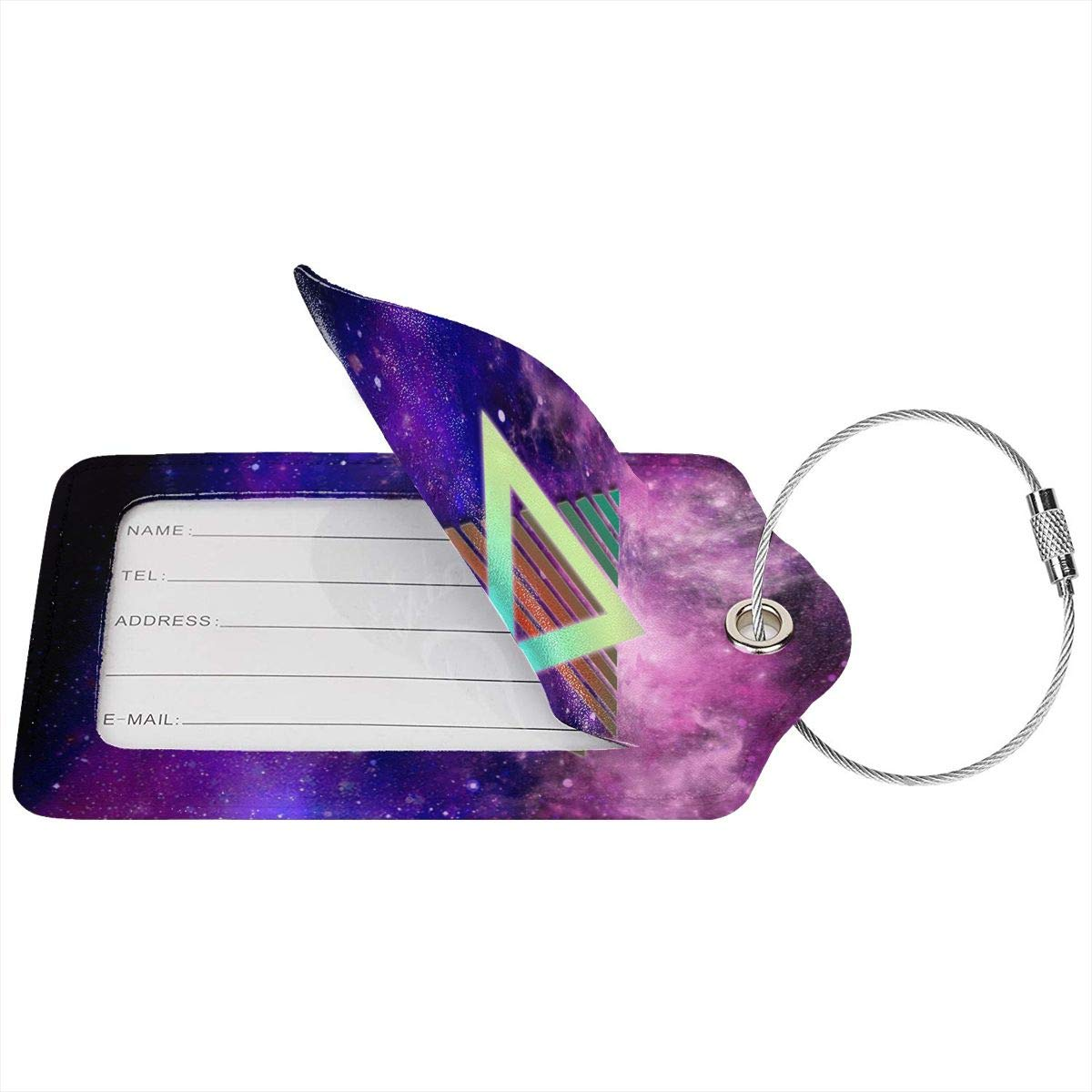 Leather Luggage Tag Geometric Triangle Space Neon Style Luggage Tags For Suitcase Travel Lover Gifts For Men Women 2 PCS