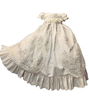 c2580164a7a Amazon.com  Faithclover Christening Gowns for Baby Girls Long Beaded Baptism  Dresses Flower Belt Infant with Bonnet  Clothing