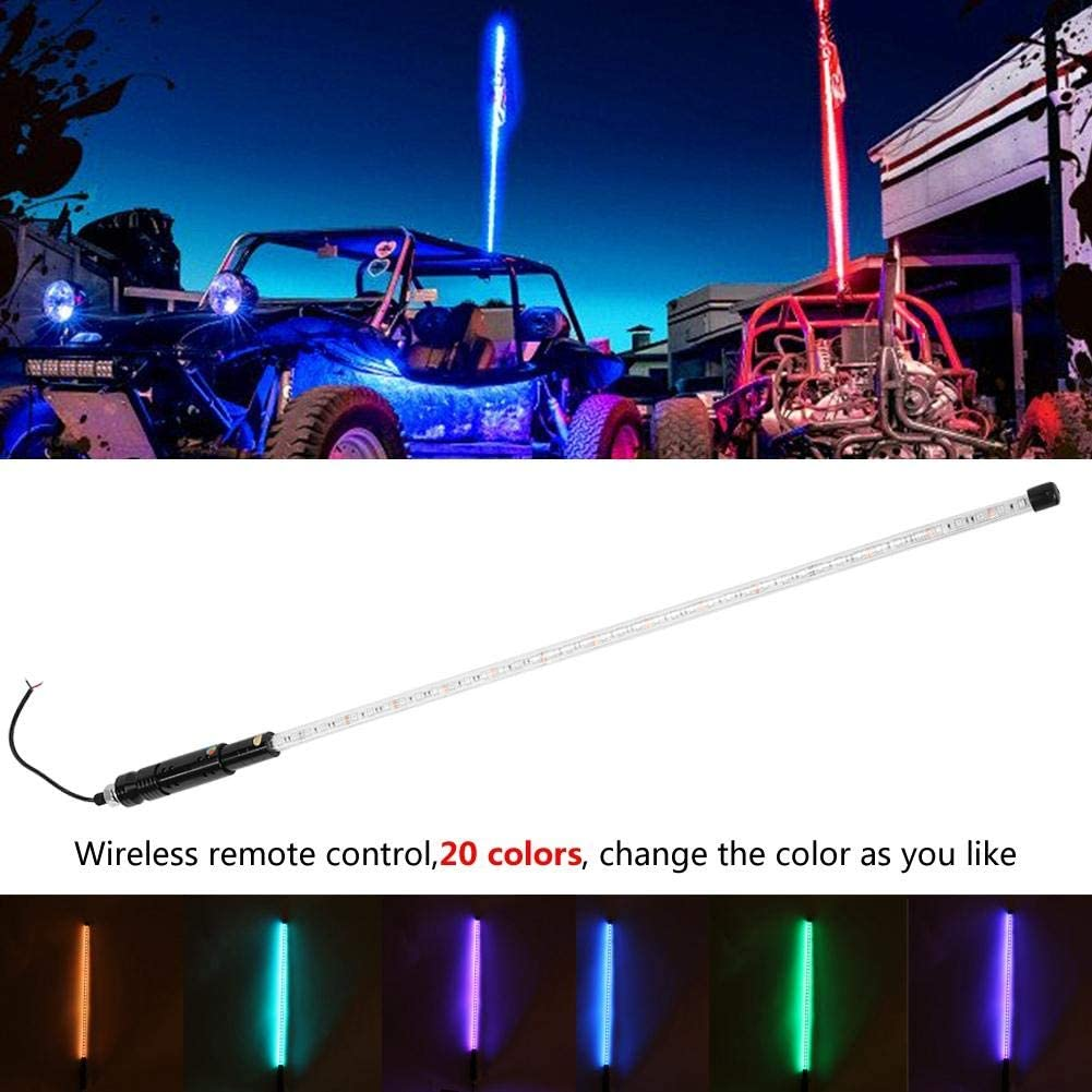 Whips Light 3FT RGB Waterproof Bendable Wireless Remote Control Super Bright LED Flagpole Lamp Light for ATV,UTV,RZR,SXS 3FT