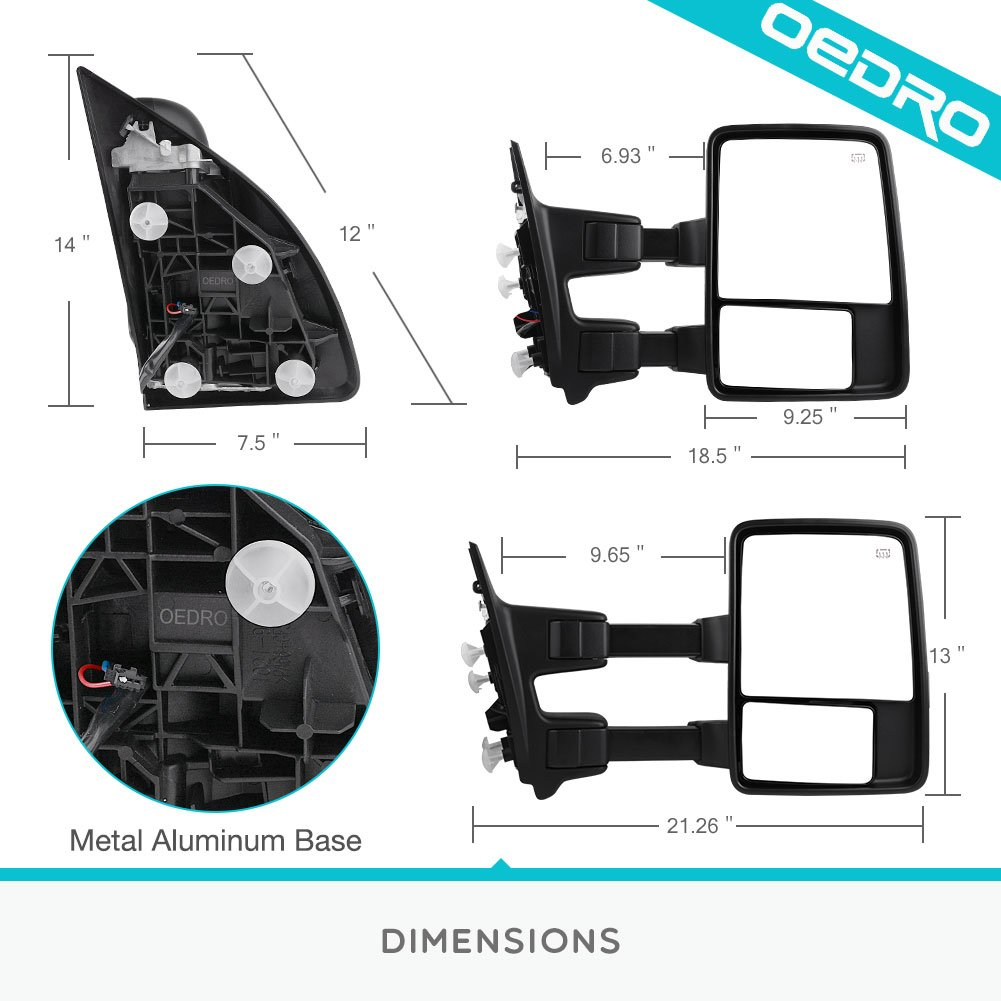 Towing Mirrors For 2008 2016 Ford F250 F350 F450 Super 2011 F 350 Duty Factory Trailer Wiring Diagram Troubleshooting Light Pair Set Telescoping Power Heated Puddle Signal With Air Temperature