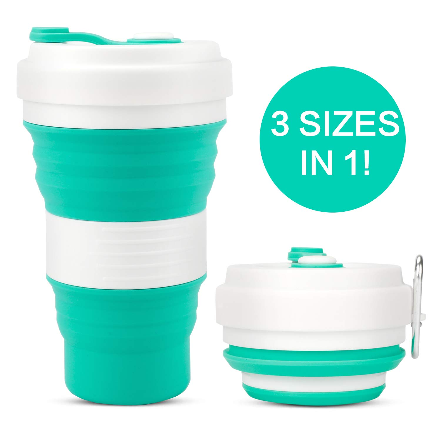 Collapsible Coffee Cup – MojiDecor Silicone Travel Mug Coffee Cup Leak Proof Multifunctional BPA Free Portable Bottle Travel Cup (Green, 550ML)