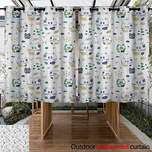 - AndyTours Outdoor Blackout Curtain,Kids,Cute Childish Cat Figures Kitten with Hearts and Spiral Circles Nursery Themed Art,Great for Living Rooms & Bedrooms,K140C183 Multicolor