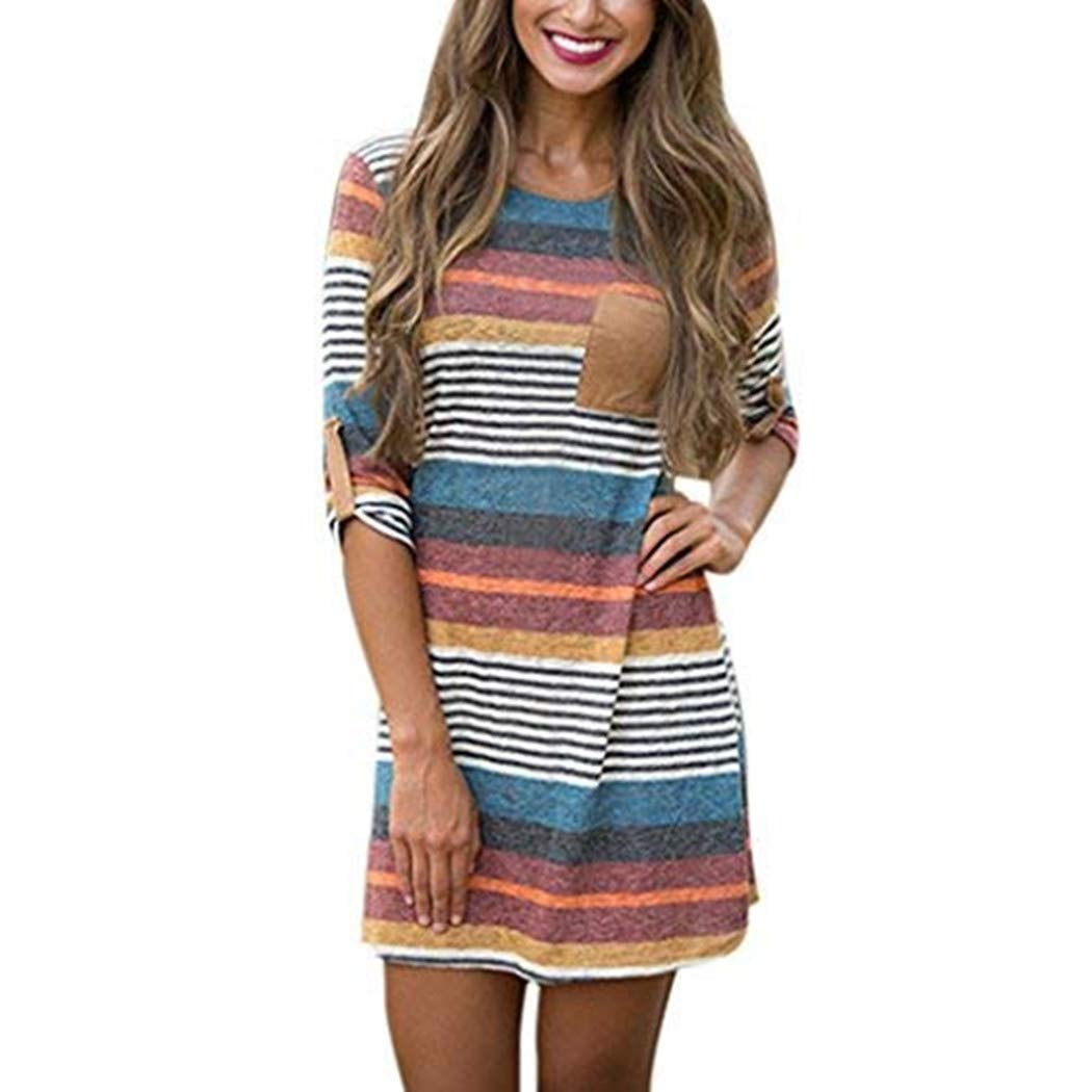 a12265f718cfcc Amazon.com  Women Dress Daoroka Sexy Striped Bodycon Long Patchwork Sleeve  Dress Casual A-Line Cotton Tunic T-Shirt Swing Mini Slim Dress (XL