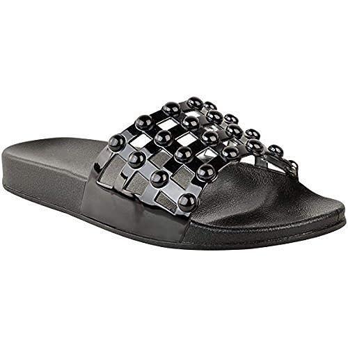 6dd3c5b608762 Fashion Thirsty Sandales Plates à Clous Strass - à Enfiler Bout Ouvert -  Confortable
