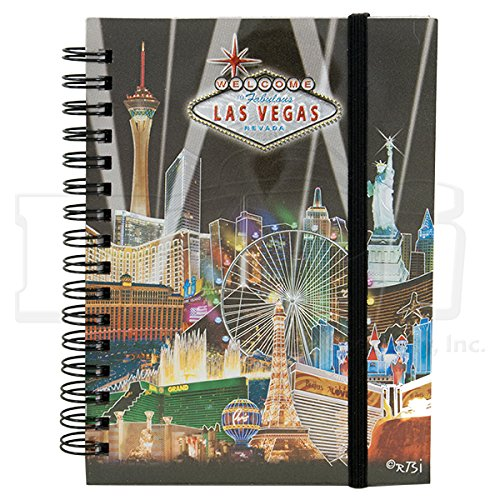 SMALL LAS VEGAS NOTEBOOK, FOILED/METALLIC LOOK WITH BLACK BACKGROUND & SPOTLIGHTS (APPROX 4.5