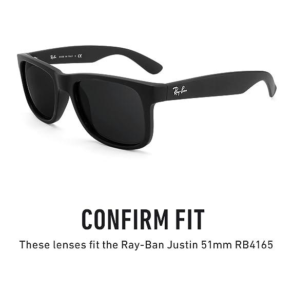 e076bc6c00 Revant Polarized Replacement Lenses for Ray-Ban Justin 51mm RB4165 Elite  Black Chrome MirrorShield®  Amazon.co.uk  Clothing
