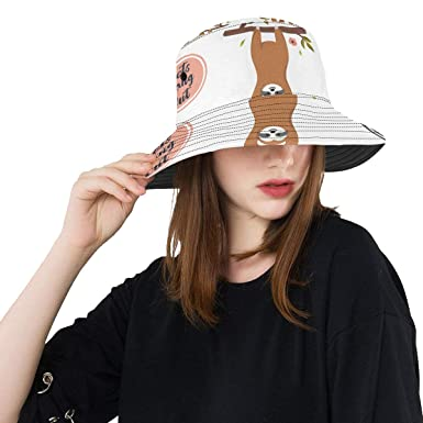 852a23f8f35 Funny Cartoon Printed Sloths New Summer Unisex Cotton Fashion Fishing Sun Bucket  Hats for Kid Teens
