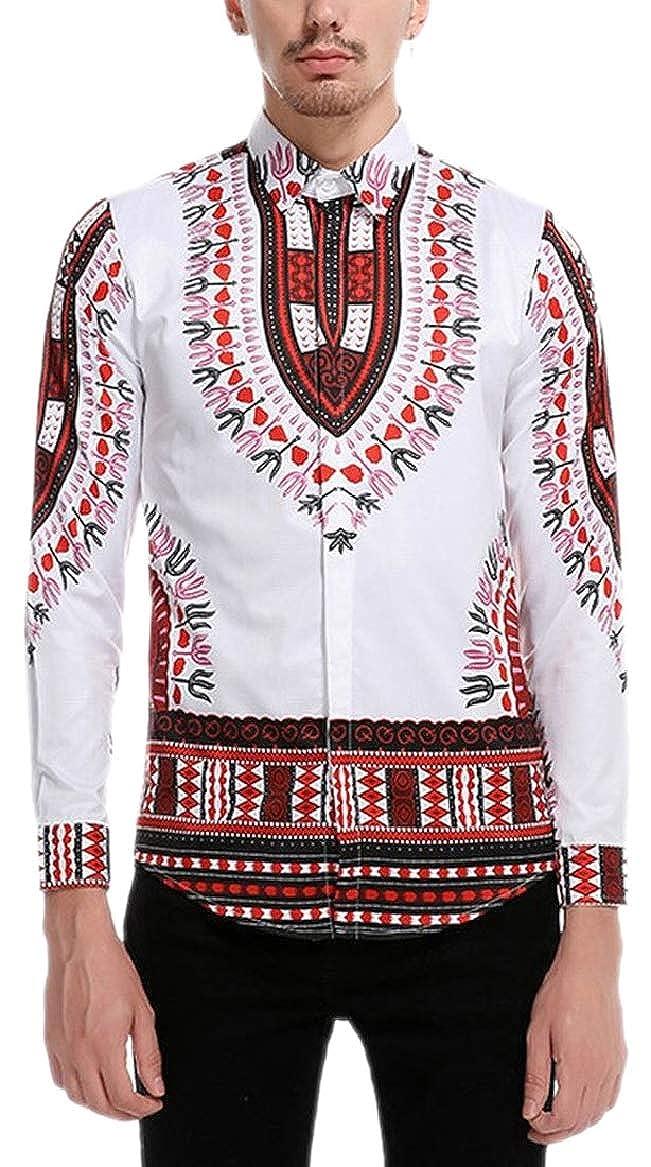 HTOOHTOOH Mens Lapel Ethnic Long Sleeved Patterns Button Down Dress Shirts