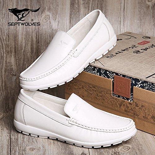 Aemember da uomo scarpe casual scarpe autunno traspirante auto Lazy Bones scarpe, scarpe da scarpe fagioli di soia e ,44, bianco.
