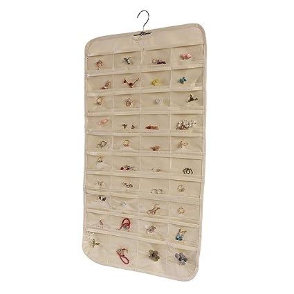 Amazon Com Combocube Beige 80 Pockets Hanging Jewelry Organizer