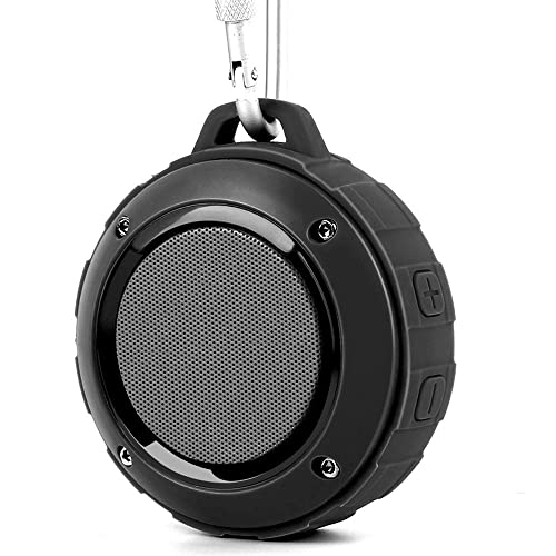 LENRUE Portable Outdoor Bluetooth Speaker, Wireless Shower Waterproof Speakers Rechargable Stereo,with Hook,Built-in Mic for IPhone/IPad/Andriod/Samsung/Tablet/Echo dot (Black)
