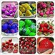 ADB Inc DD 2016 900 Seeds, 9 Packs Rare Hybrid Edible Purple Yellow Pink Blue Green Red Giant Strawberry