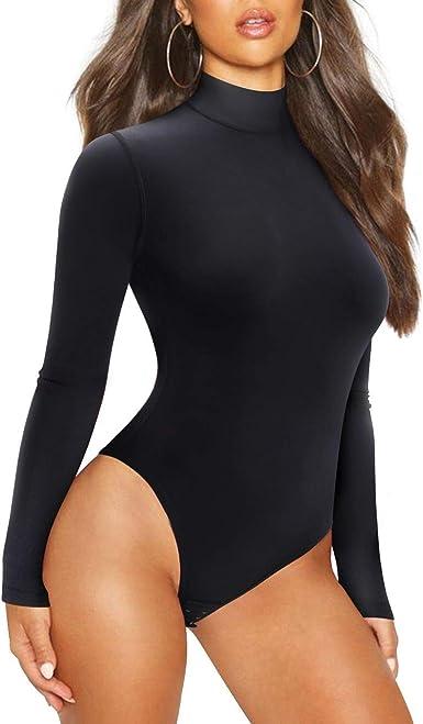 Esast Women Mock Neck Long Sleeve Velvet One Piece Leotard Bodysuits