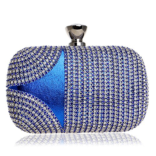 Women Color Chain Lady Party Rhinestones For Shoulder Bags Evening blue KYS Clutch Wedding Mixed Wallets Handbags Small Bx1SqwH