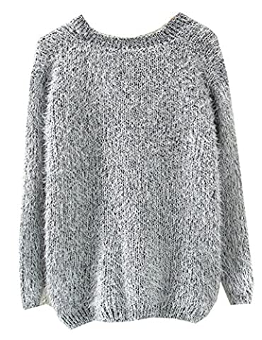 Musf Women Fluffy Mohair Sweaters Knitted Sweater (gray)