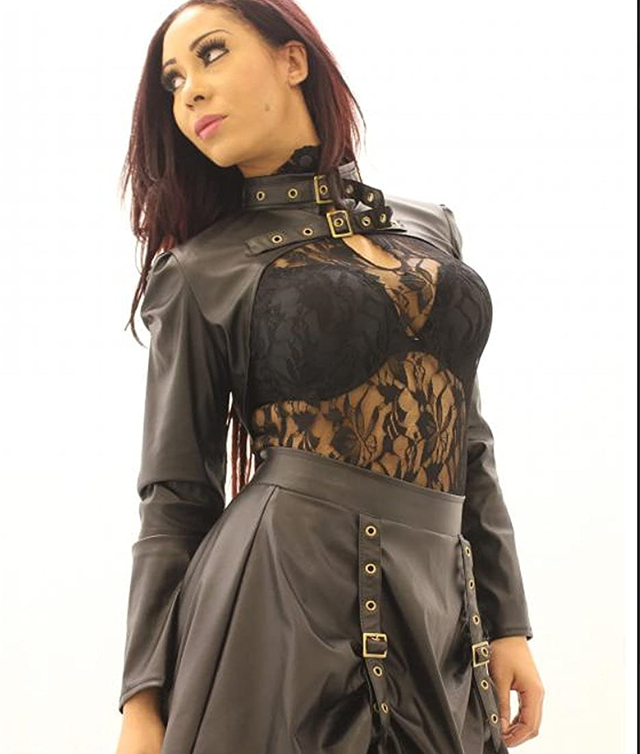 Faux Brown Leather Steampunk Bolero
