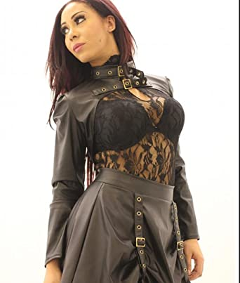 f361a7bfe4b5a Faux Brown Leather STEAMPUNK BRASS BUCKLE STRAP BOLERO Womens Top (Size US  10   UK