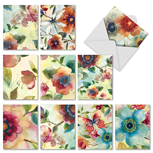 M3314 Watercolor Botanicals: 10 Assorted Blank All-Occasion Note Cards Featuring Details of Floral-Themed Watercolor Paintings, w/White Envelopes.