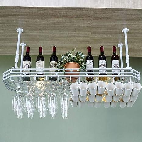 Size : 100x35cm Fixation Murale au Plafond en Verre Suspendu Titulaire Vintage Porte-Bouteille Titulaire de vin Rustique Hauteur r/églable Noir, 2 Taille LYN-UP /Étag/ère /à Porte Bouteilles