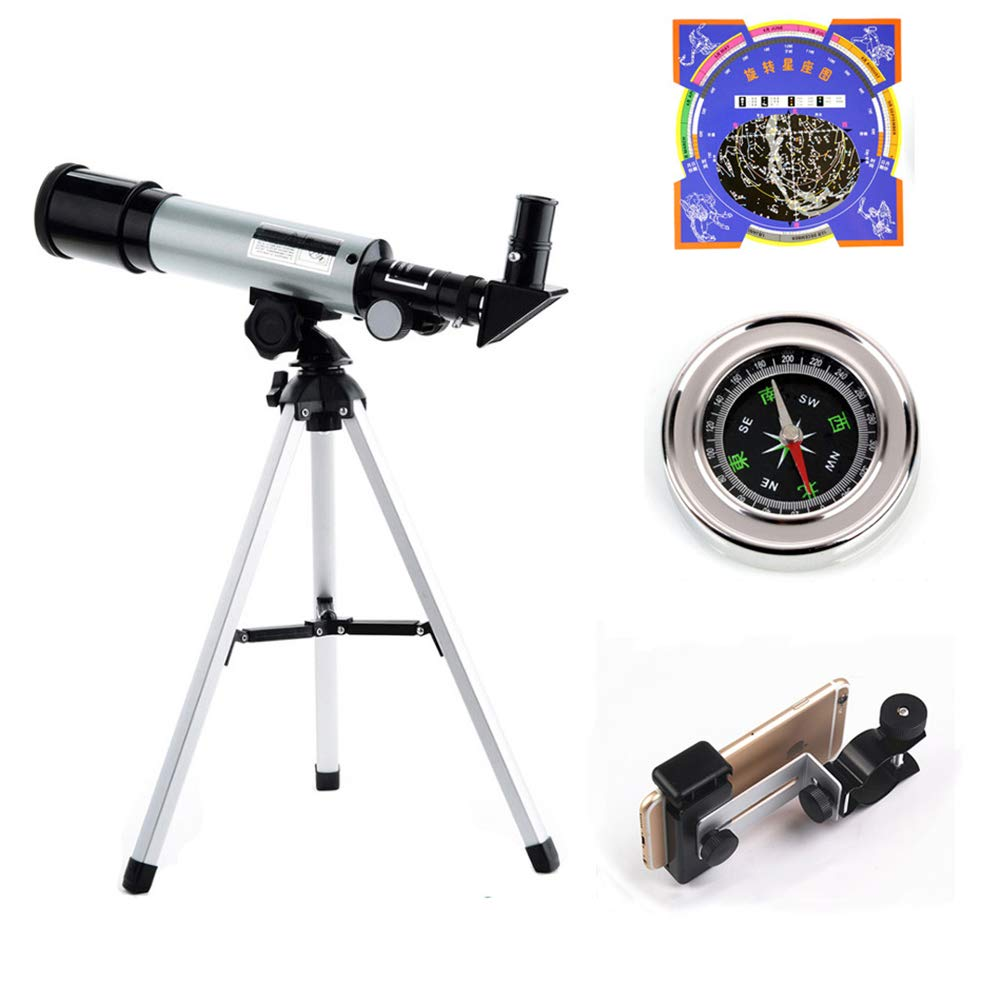 Uhruolo Telescope,50mm Aperture Astronomical Refractor Telescope with Stargazing Chart, Phone Clip,Compass,for Kids Beginners by Uhruolo