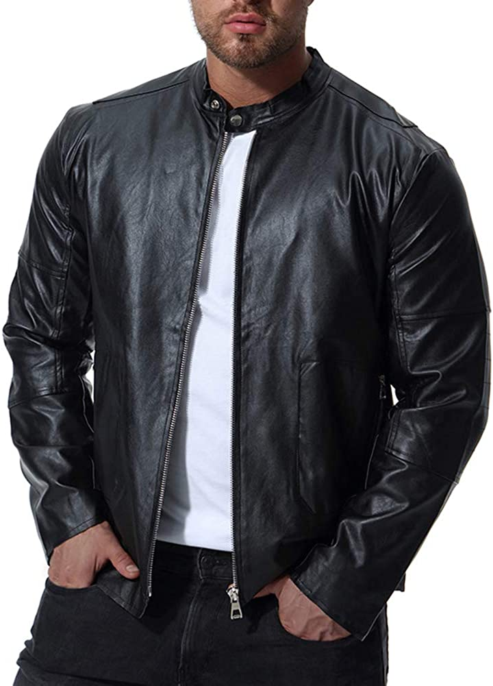 AOWOFS Mens Stand Collar Faux Leather Jacket Motorcycle Bomber Biker Fashion Black Slim Fit
