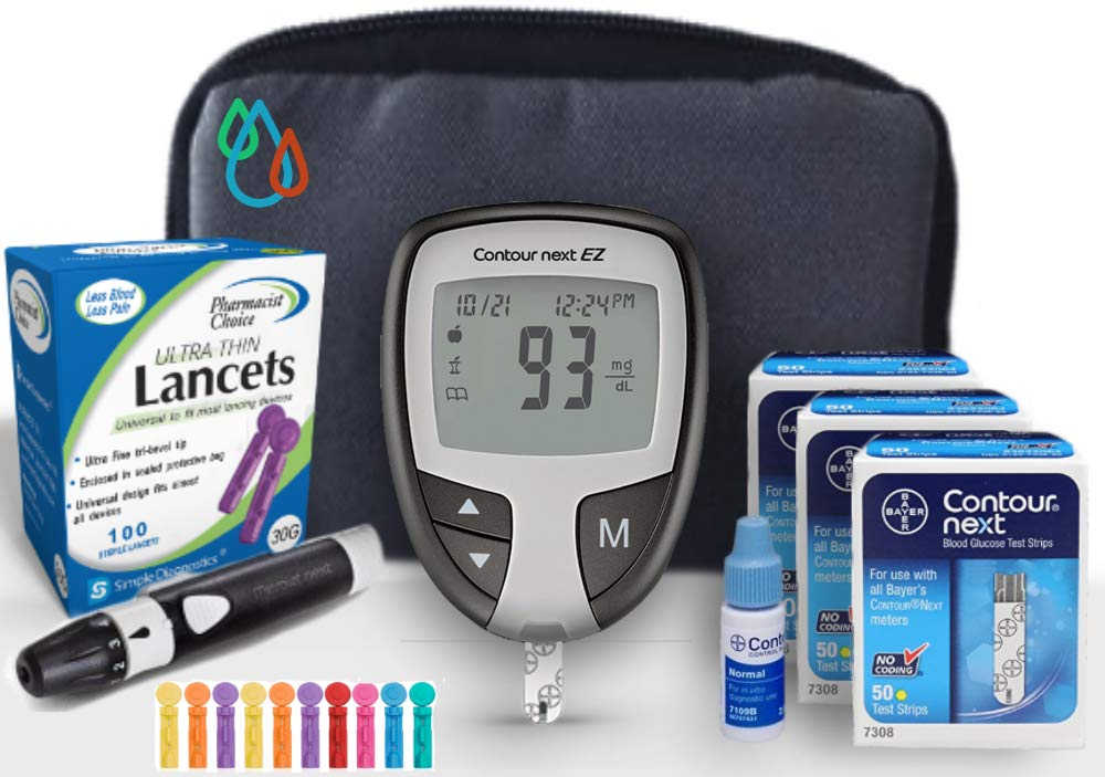 Raindrop USA - Bayer Contour NEXT EZ Complete Diabetes Blood Glucose Testing Kit: METER, Test Strips, Lancets, Lancing Device, Control Solution, & Carry Case (110 Test Strips, 110 Lancets)