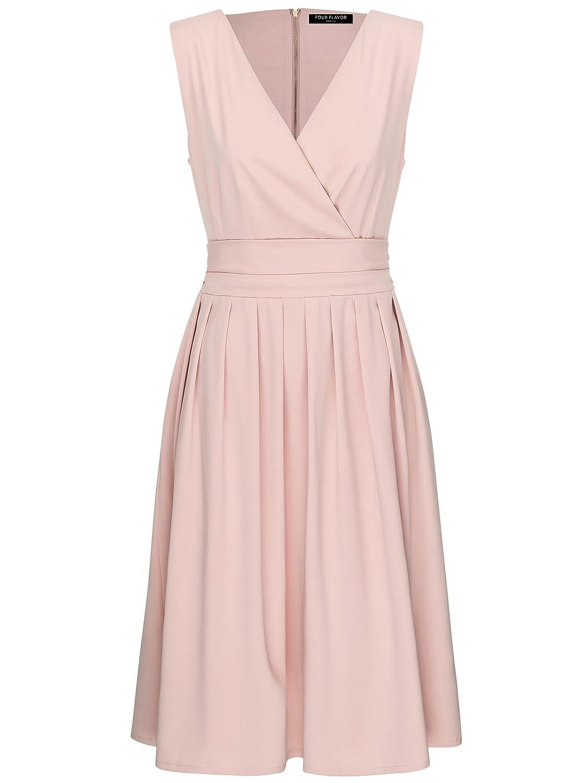 FOURFLAVOR Kleid Sarah V-ausschnitt Knielang ärmellos Casual Stark Tailliert 95% Polyester, 5% Elasthan