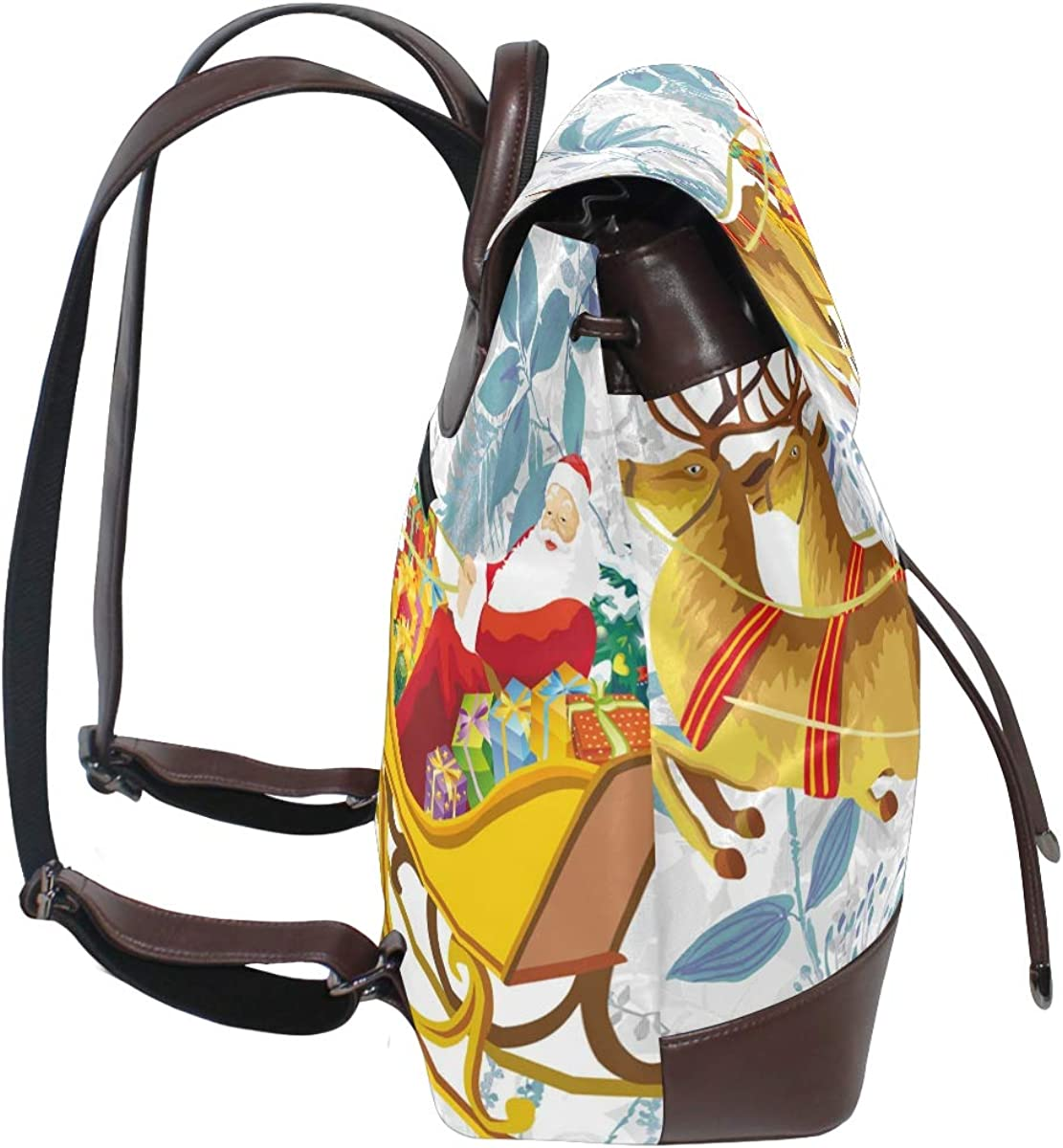 PU Leather Shoulder Bag,Santa With Sleigh Backpack,Portable Travel School Rucksack,Satchel with Top Handle