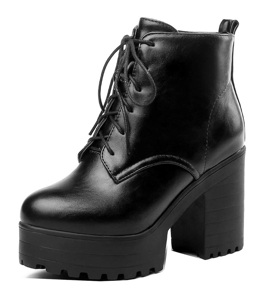 Easemax Femme Simple Plateforme Talon Chunky Low Plateforme Boots Talon Bureau Noir Bottines Noir 44dd1f5 - shopssong.space